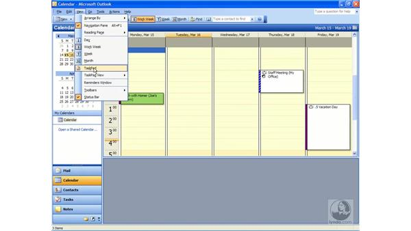 the calendar window: Outlook 2003 Essential Training