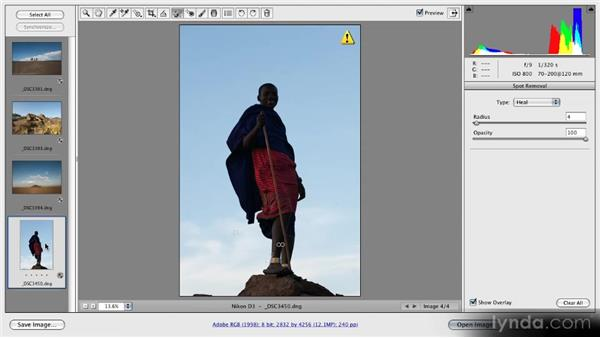 The Retouch tool: Getting Started with Adobe Camera Raw 5