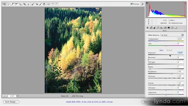 Using the Exposure slider: Getting Started with Adobe Camera Raw 5