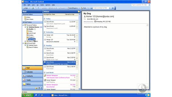private folders: Outlook 2003 Essential Training
