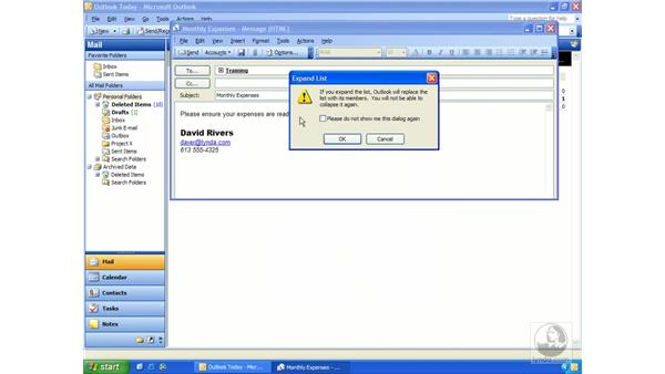 distribution lists: Outlook 2003 Essential Training