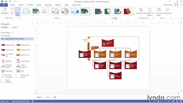 Applying theme colors and effects: Up and Running with Visio 2013