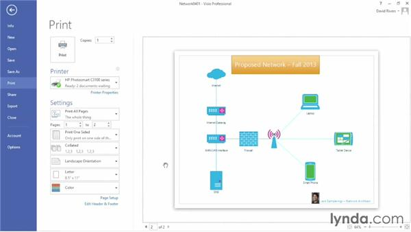 Printing diagrams: Up and Running with Visio 2013