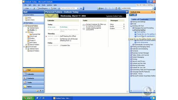 getting help: Outlook 2003 Essential Training