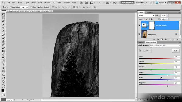 Using presets with the black-and-white adjustment: Photoshop Black-and-White Workshop