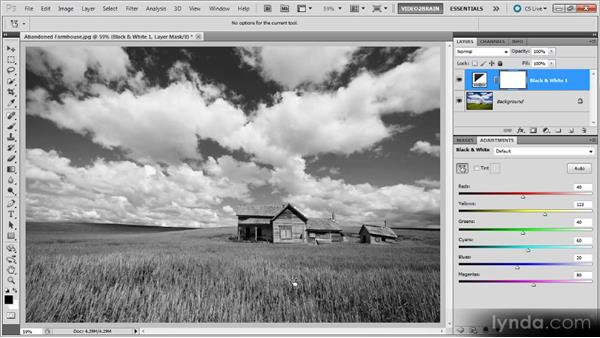 Using the On-Image option: Photoshop Black-and-White Workshop