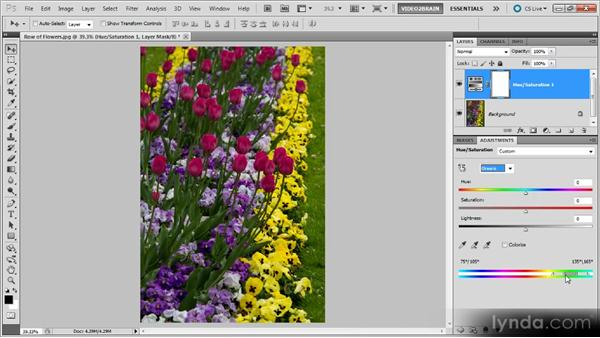 Isolating color with a Hue/Saturation adjustment: Photoshop Black-and-White Workshop