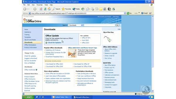 checking for updates: Outlook 2003 Essential Training