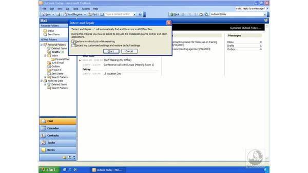 detect and repair: Outlook 2003 Essential Training