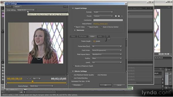 The left side of the Export Settings dialog box: Up and Running with Adobe Media Encoder