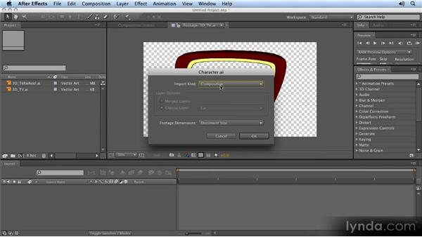 Importing options: 2D Character Animation with After Effects