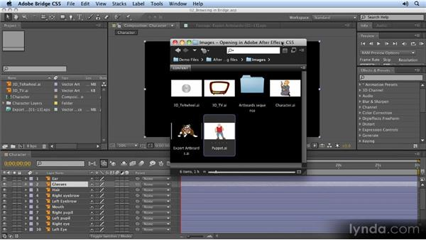 Browsing files in Bridge: 2D Character Animation with After Effects