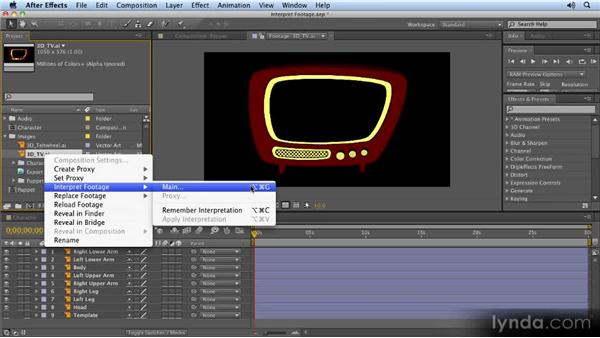 Interpreting footage options for transparency and gradients: 2D Character Animation with After Effects