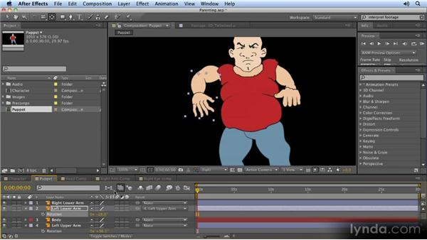 Using parenting to create hierarchical animation: 2D Character Animation with After Effects