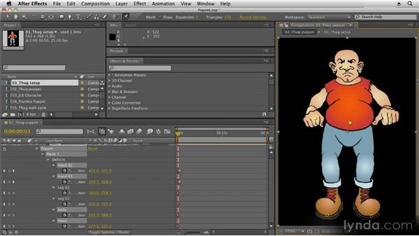 Recording animation with the Puppet tool: 2D Character Animation with After Effects