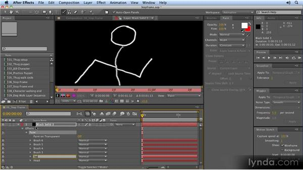 Animating paint strokes with the paintbrush: 2D Character Animation with After Effects
