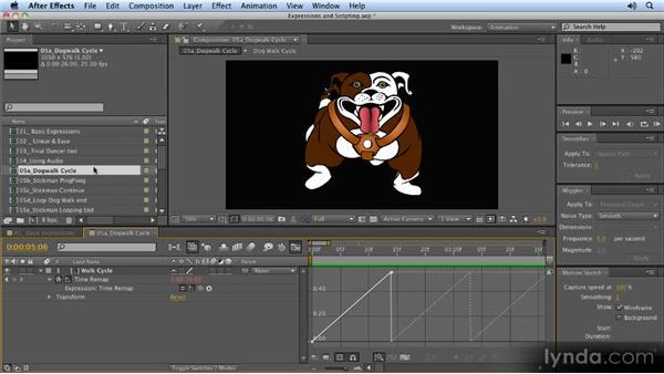 Applying loop expressions: 2D Character Animation with After Effects