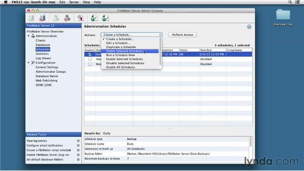 Scheduling backups: FileMaker Pro 12 in Depth