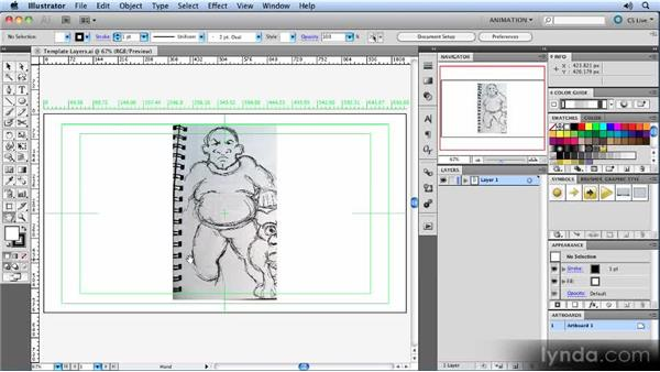 Creating template layers: Animated Character Design with Illustrator