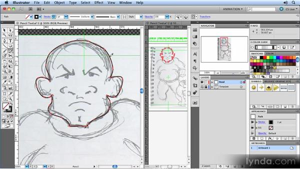 Drawing with the Pencil tool: Animated Character Design with Illustrator
