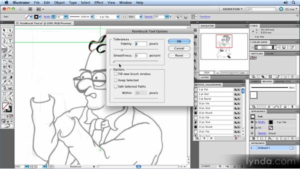 Working with the Brush tool: Animated Character Design with Illustrator