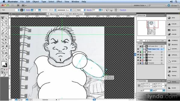 Using adjustment tools: Animated Character Design with Illustrator