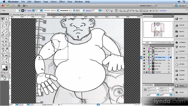 Selecting paths: Animated Character Design with Illustrator