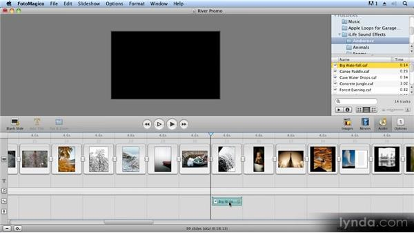 Adding sound effects: Creating Slideshows with FotoMagico and Photoshop