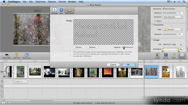 Adding a watermark and frame: Creating Slideshows with FotoMagico and Photoshop