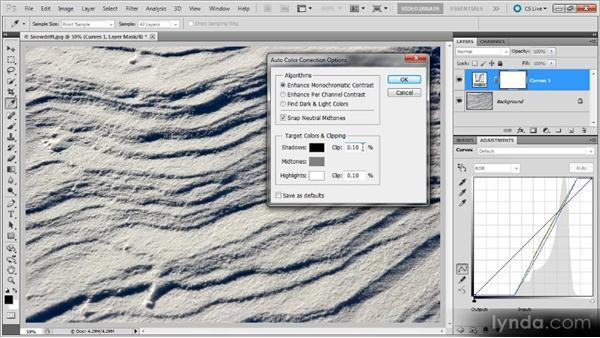 Auto color correction options: Photoshop Curves Workshop