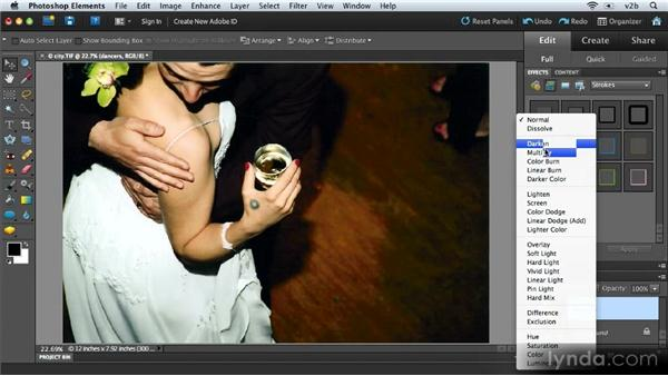 Adjusting layer opacity and applying blend modes: Combining Images with Photoshop Elements 9