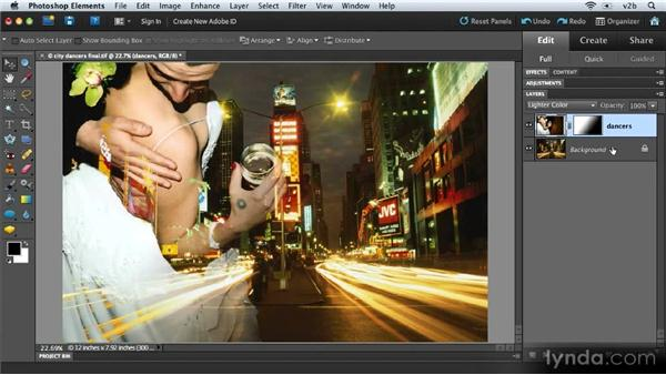 Merging, flattening, and saving a layered file: Combining Images with Photoshop Elements 9