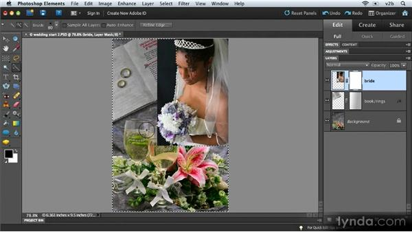 Filling selections and painting in layer masks: Combining Images with Photoshop Elements 9