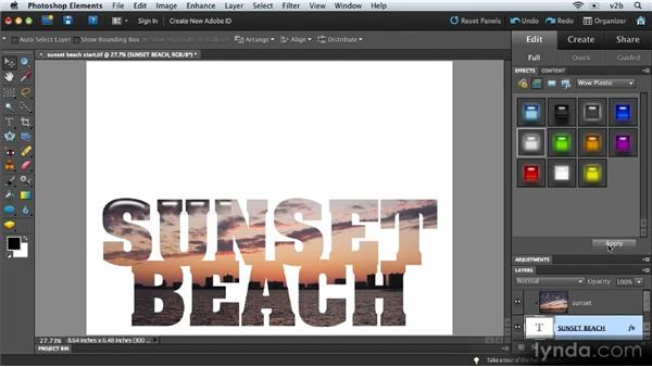 Creating a type mask: Combining Images with Photoshop Elements 9
