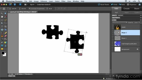 Creating a shape mask: Combining Images with Photoshop Elements 9