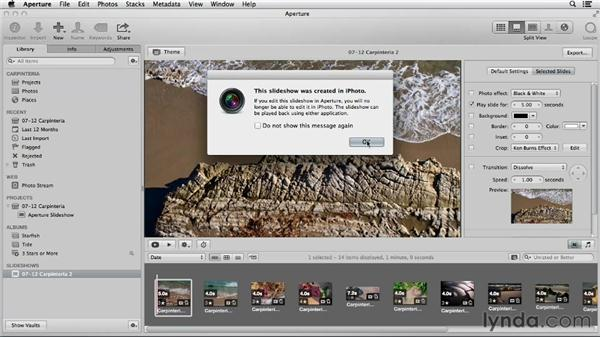 Comparing iPhoto and Aperture slideshow tools: Using iPhoto and Aperture Together