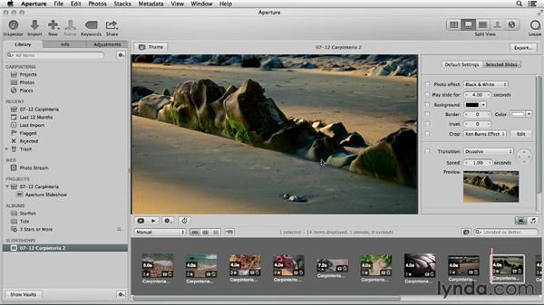 Enhancing an existing iPhoto slideshow with Aperture tools: Using iPhoto and Aperture Together