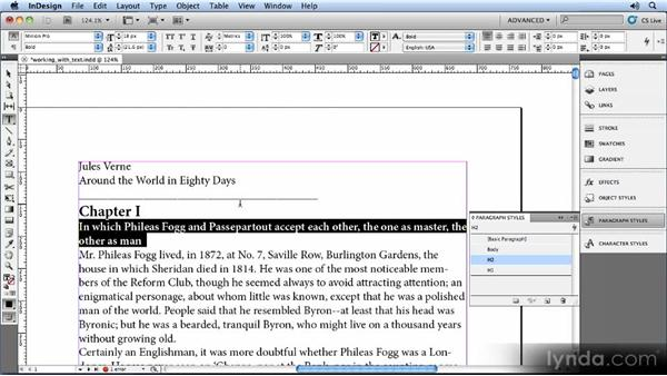 Adding paragraph styles: Creating Ebooks with InDesign CS5