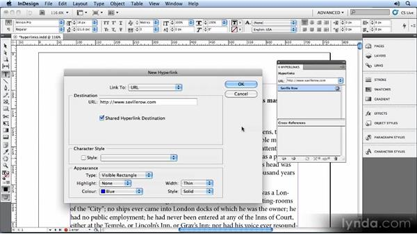 Adding hyperlinks: Creating Ebooks with InDesign CS5