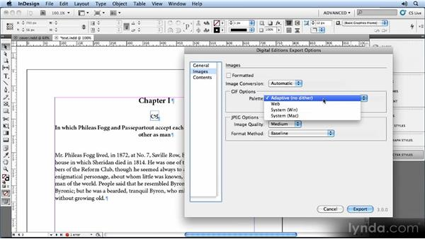 Image export options: Creating Ebooks with InDesign CS5