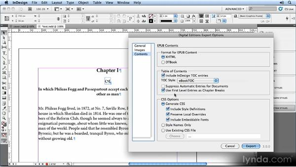 Content export options: Creating Ebooks with InDesign CS5