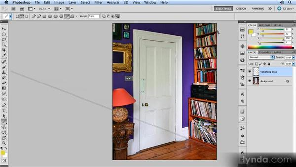 Drawing the vanishing lines: Creating Perspective with Photoshop