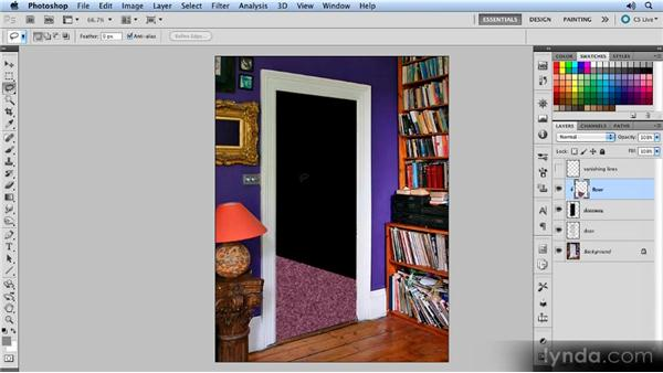 Drawing the floor and wall: Creating Perspective with Photoshop
