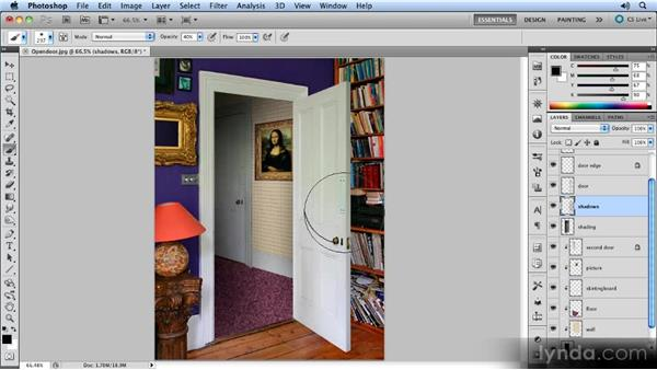 Adding shading behind the door: Creating Perspective with Photoshop