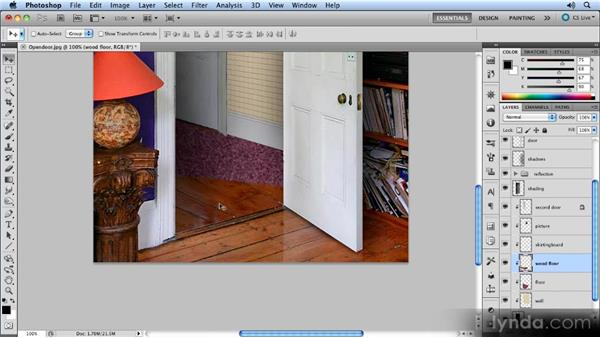 Adding the door's reflection: Creating Perspective with Photoshop
