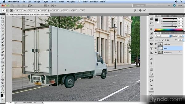 Correcting the truck back: Creating Perspective with Photoshop