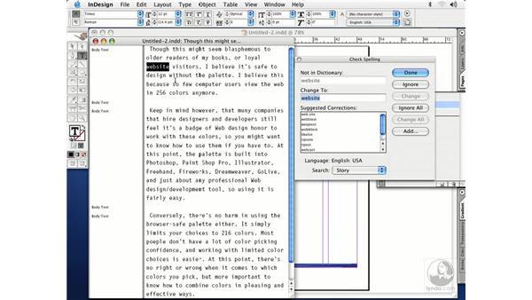 check spelling: InDesign CS Essential Training