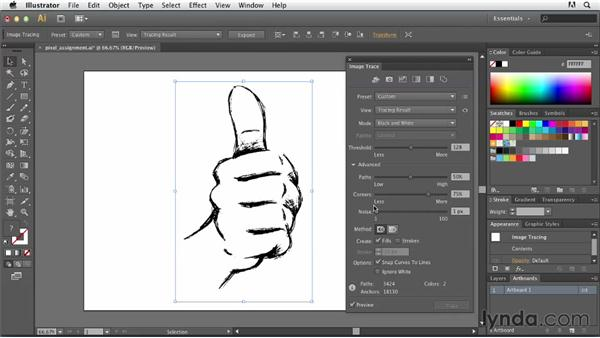 Adjusting pixel assignment: Tracing Artwork with Illustrator