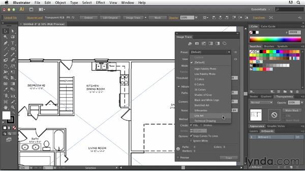 Vectorizing a technical drawing: Tracing Artwork with Illustrator