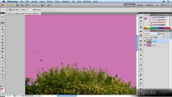 Background eraser: Correcting mistakes: Photoshop Artist in Action: Steve Caplin's Day for Night